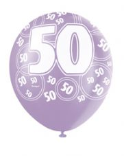 50th Birthday Pink Glitz Latex Balloons 12 inch